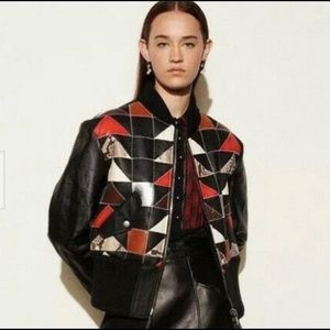 Coach Sz 2 leather shearling patchwork jacket